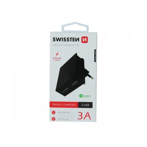 Adaptér sieťový SWISSTEN SMART IC 2x USB 3A POWER ČIERNY