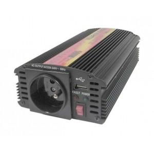 Menič 24V/230V+USB 500W, modifikovaná sinusovka, CARSPA