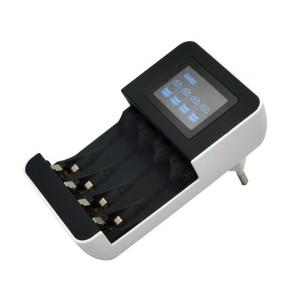 Nabíjačka s LCD displejom, AC 230V, 450mA, 4 kanály, AA / AAA, riadená mikroprocesorom