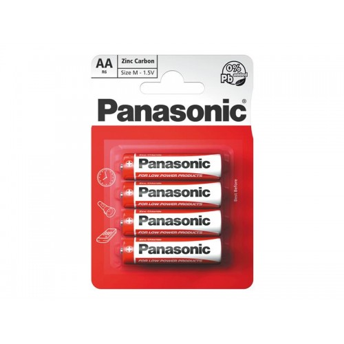 Batéria R6 (AA) Red zinkouhlíková, PANASONIC 4BP