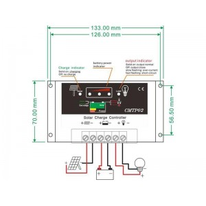 Solárny regulátor PWM CMPT02-20 12-24V/20A