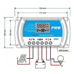 Solárny regulátor PWM RTD1220 12-24V/20A