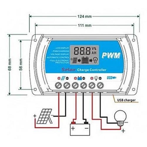 Solárny regulátor PWM RTD1210 12-24V/10A